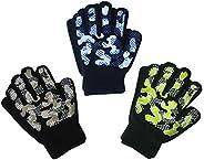 EvridWear Boys Girls Magic Stretch Gripper Gloves 3 Pair Pack Assortment, Kids One Size Winter Warm Gloves Chi