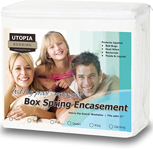 Premium Bed Bug Proof Box Spring Encasement - Waterproof Zippered Box Spring Cover - Ultimate Protection Against Insects, Dust Mites - Knitted Box Spring Protector (Queen) by Utopia Bedding
