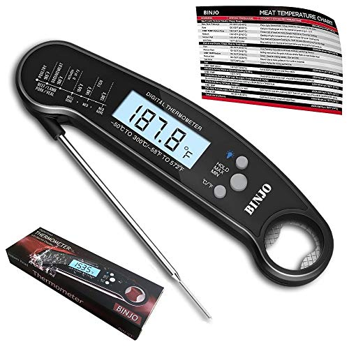 - Digital Meat Thermometer for Grilling, IP67 Waterproof Kitchen Cooking Thermometer with Highly Sensitive Probe, Instant-Read Food Thermometer with Calibration and Backlit Function for BBQ Coffee Candy