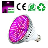 Aolvo LED Plant Grow Light Bulb, Full Spectrum Grow Bulb with 150PCs LEDs Red/Blue/White/IR for Indoor Plants Vegetables, Flowers, Hydroponics Greenhouse Gardening - 100W