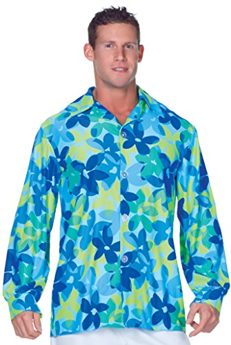 Underwraps Men's Plus-Size 60's Flowers Shirt, Blue/Green, XX-Large -