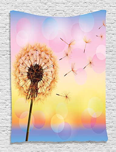 Tapestry Ambesonne Dandelion Rainbow Colorful