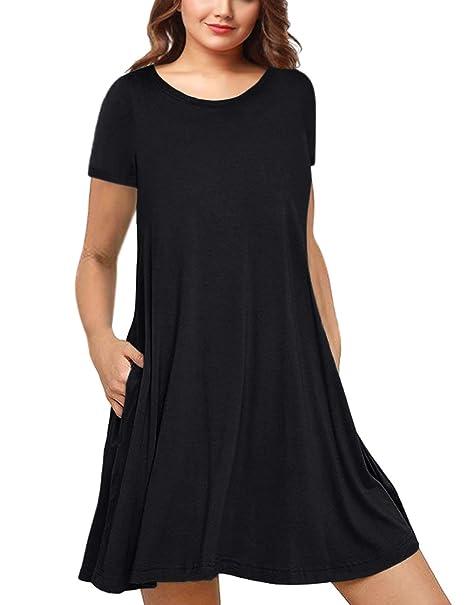 aa4885e67b AMZ PLUS Womens Plus Size Short Sleeve Casual Swing Tunic Dress Black XL