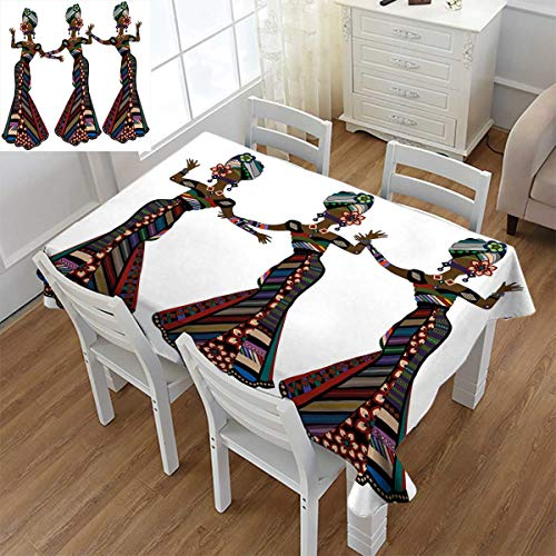 Angoueleven African Woman,Washable Tablecloth,Young Women in Stylish Native Costumes Carnival Festival Theme Dance Moves,Waterproof Tablecloths,Multicolor,Size:60''x84'' by Angoueleven