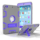 iPad Pro 9.7 Shockproof Case, Rubberized Armor Military Protection Shockproof Shell With Stand For iPad Pro 9.7 & iPad Air 2 - DUAL COLOR (GREY/PURPLE)
