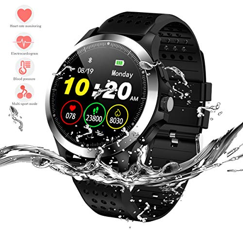 HERCINY Sport Smart Watch for Men, Fitness Tracker, IP67 Waterproof Smartwatch with ECG+PPG Heart Rate Blood Pressure Sleep Monitor, 9 Sports Modes, Pedometer, Calorie, Clock Alarm, Custom Reminder