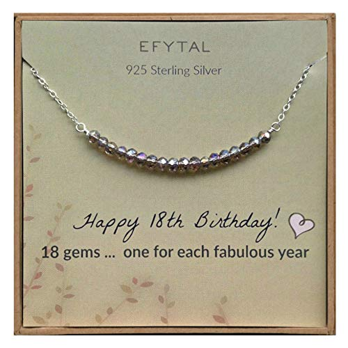 EFYTAL 18th Birthday Gifts for Girls, Sterling Silver Necklace, 18 Beads for 18 Year Old Girl, Jewelry Gift Idea