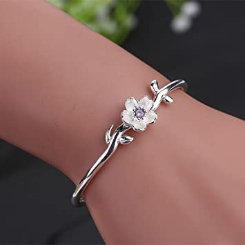 1a83942f7ac8f Sumanee Cubic Zircon Cherry Blossom For Women Open Bangle Jewelry Cuff  Bracelets