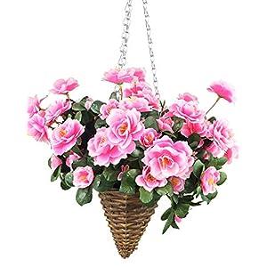 Lopkey Artificial Red Azalea Bush Flower Patio Lawn Garden Mini Hanging Basket with Chain Flowerpot,Pink 72