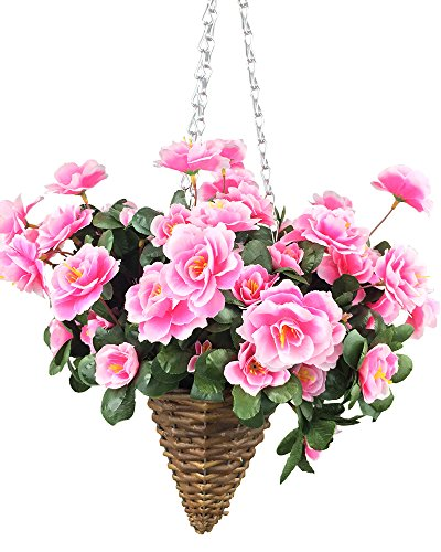 Lopkey Artificial Red Azalea Bush Flower Patio Lawn Garden Mini Hanging Basket with Chain Flowerpot,Pink ()