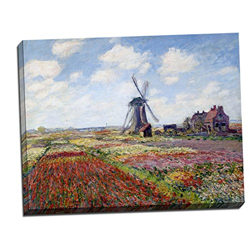 Gallery Wrapped Canvas 22x28' - Claude Monet Fields of Tulip With The Rijnsburg Windmill Gallery Wrapped Canvas Giclee Print - Finished Size (W) 28'' x (H) 22'' [Gallery-Wrap] (S14-22T-Stretched-Border) - Enhanced Image