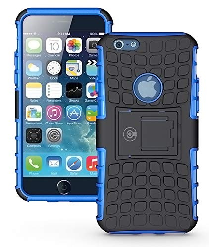 - iPhone 6S Case, iPhone 6 Case by Cable and Case - [Heavy Duty] Tough Dual Layer 2 in 1 Rugged Rubber Hybrid Hard/Soft Impact Protective Cover [with Kickstand] Shipped from The U.S.A. - Blue