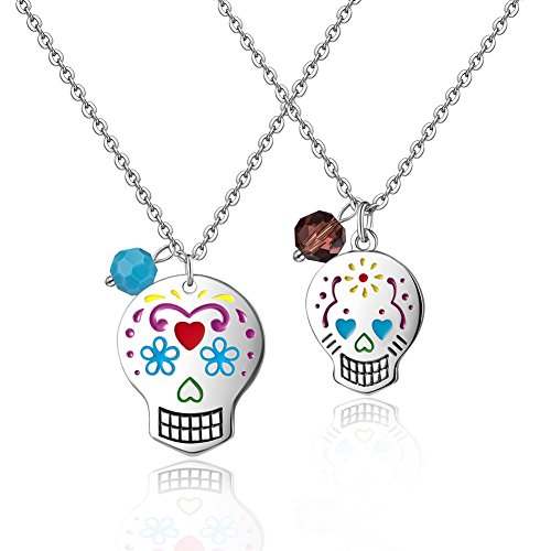 Mother Daughter Necklace Long Statement Personalized Sugar Skull Birthstone Couples Necklace Set (Blue + brown (Candy Skull Costume)