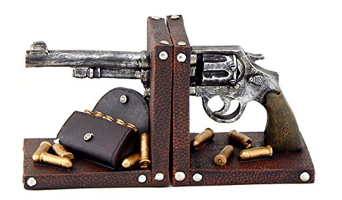 Western Ammo (Decorative Bookends Gun Pistol Ammo Book End Black)