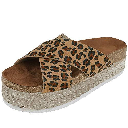 Athlefit Women's Slip On Platform Sandals Espadrille Strap Cork Wedge Sandals Size 8 Lepard]()