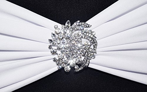 Wedding Linens Inc. (6 PCS) Rhinestone Chair Sash Band Buckles / Brooch Pins for Wedding Party Banquet Events - Floral