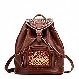 Hand-made Vintage Women Backpacks Genuine Leather Carved Flowers Shoulder Bag Satchels Travel First Layer Cowhide Backpack Brown