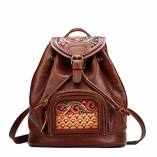Hand-made Vintage Women Backpacks Genuine Leather Carved Flowers Shoulder Bag Satchels Travel First Layer Cowhide Backpack Brown by EwWCA