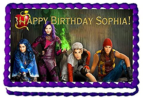 Descendants Quarter Sheet Edible Photo Birthday Cake Topper. ~ Personalized! (Movie Cool Dry Place)