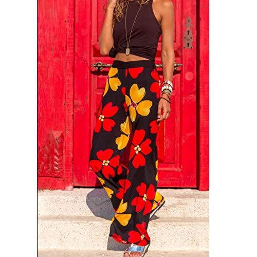 Pervobs Women Summer Casual Boho Floral Printing High Waist Wide Leg Pants Holiday Daily Loose Super Comfy Trouser(L, Black) by Pervobs Women Pants (Image #3)