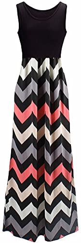 Shangke Womens Zig Zag Scoop Neck Wave Striped Tank Maxi Long Dress