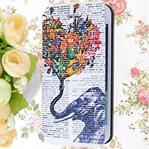 Mini - Special Grains Flowers Elephants Pattern PU Full Body Case with Card Slot for iPhone 5/5S