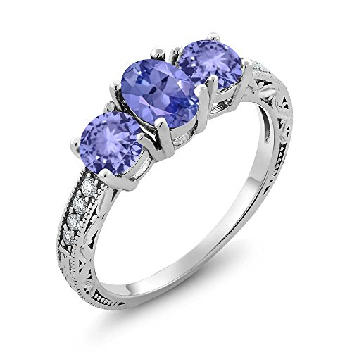 Gem Stone King 1.79 Ct Oval Blue Tanzanite 925 Sterling Silver 3-Stone Women's Ring (Size - Tanzanite Ring 3 Stone