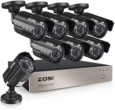 ZOSI 8CH 5MP-Lite Home Security Surveillance System,H.265 8Channel 5MP-Lite HD-TVI CCTV DVR and 8pcs 1080P Indoor Outdoor Weatherproof Camera