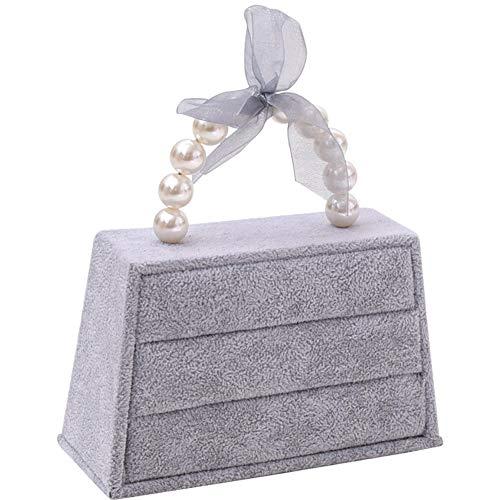 (TINTON LIFE Handbag Shaped Hair Clasp Holder Display Stand with Earring Organizer (Grey Earring Organizer))