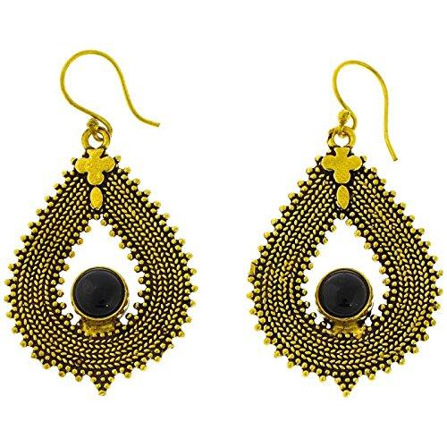 Onyx earrings braid drop points Cross antique brass golden earrings nickel free Tribal Brass