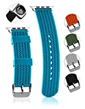 Apple Watch Band Soft Silicone Sport Style, Tire Tread, Simple Slide-On Installation Replacement Apple iWatch Compatible Watch Strap,Waterproof,For 42mm Blue offers