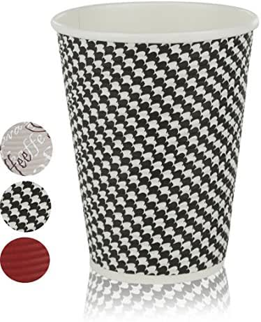 Quality Disposable Hot Coffee Insulated Cups By Golden Spoon – 50 Pack – Stylish Contemporary Ripple Design - Perfect For Coffee Shops And Bars (12 oz, Checkered Design)