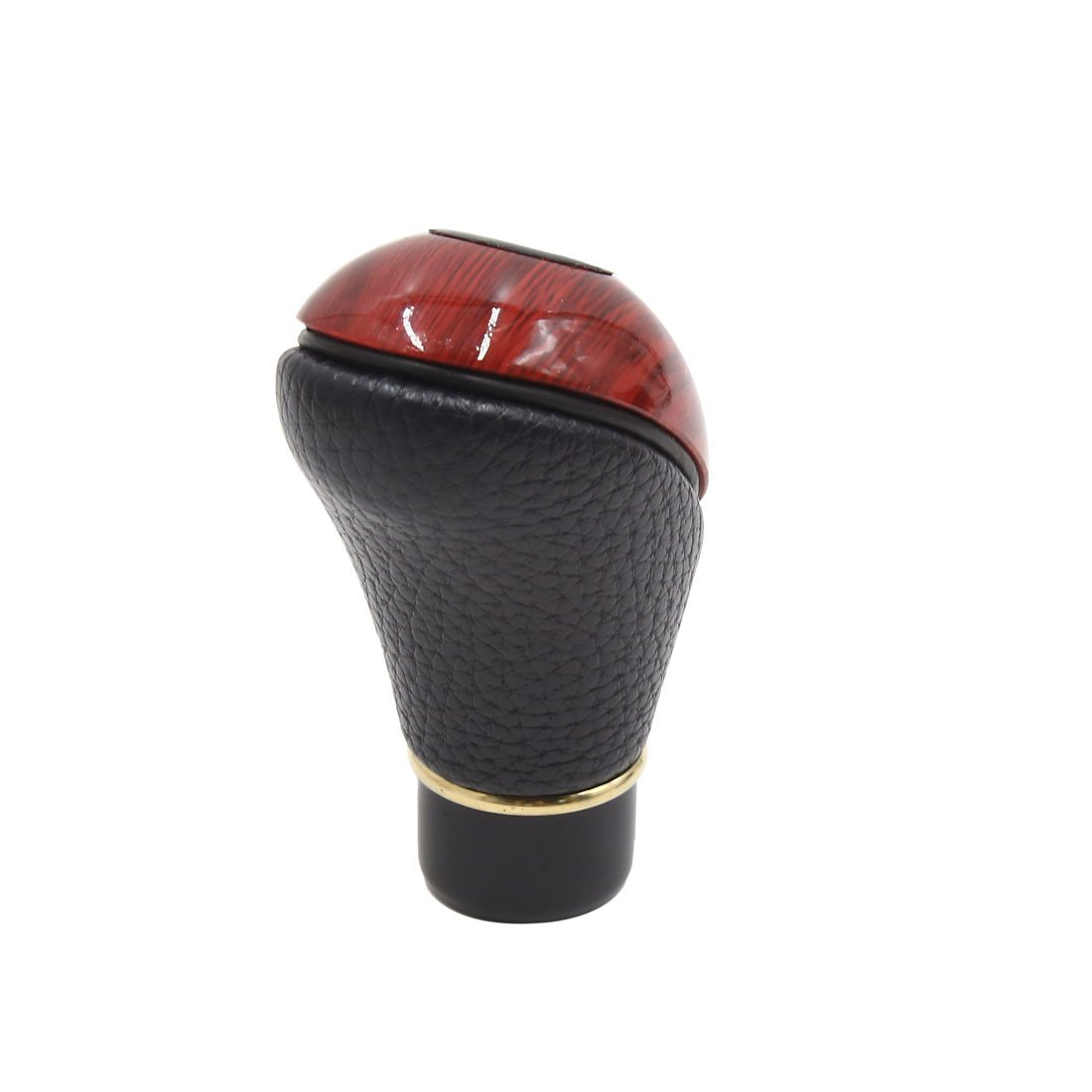 uxcell a18042600ux0069 Black Faux Leather Wood Auto Car 5 Speed Manual Gear Stick Shift Knob Shifter