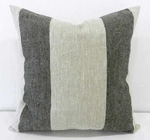 Pillow Cover 18x18 Farmhouse Linen Natural and Black Wide Stripe - Linen Striped Pillow