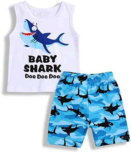 167a66c97 Baby Boys Girls Clothes Shark Doo Doo Doo Print Summer Cotton Sleeveless Outfits  Set Tops and