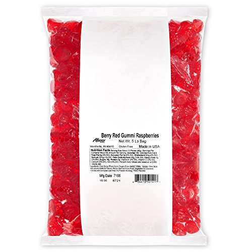 Albanese Candy, Berry Red Gummi Raspberries, 5-pound Bag