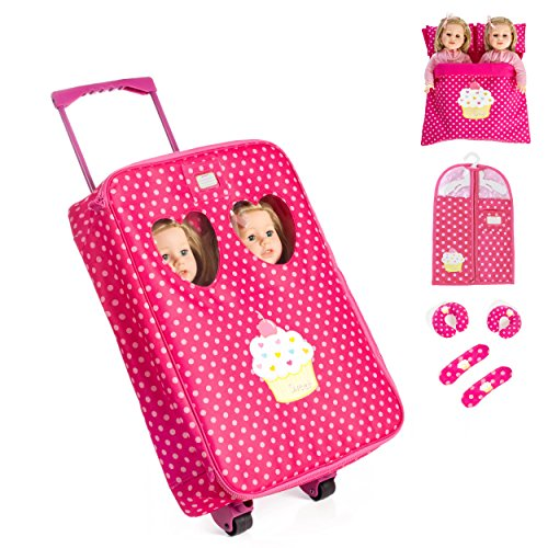 (7 Piece TWIN Doll Traveling Trolley Set fits 2 18'' American girl Dolls Including Twin Sleeping Bags and accessoriesDoll Not Included)