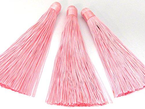 1 Piece - Long Light pink silk tassel charm supplies - 120 mm long - BD867