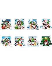 OKESYO 8 stuks DIY 5D diamant schilderij kerstkaart kits cadeaukaart wenskaart ansichtkaart gepersonaliseerde kerstkaarten met enveloppen voor Kerstmis