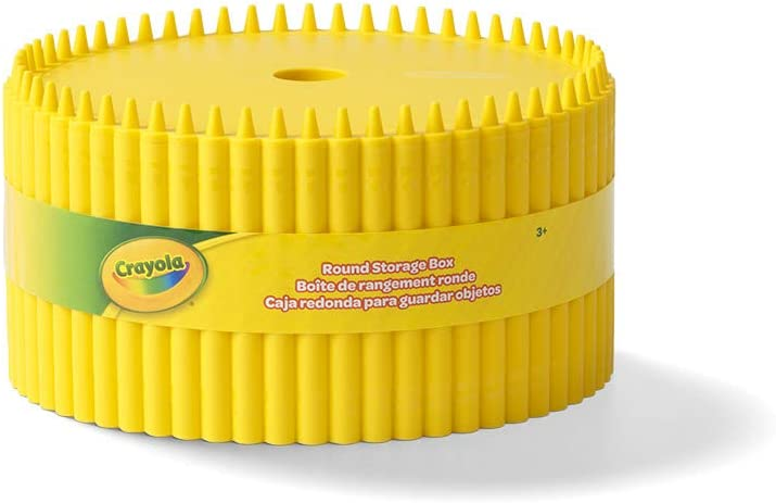 Crayola Round Storage Box Creative Kids Art Storage Container With Lid For Storing Pens Pencils Mountain Meadow Kids 3+ Years Crayons And Other Craft Supplies