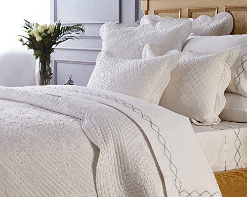 "Calla Angel CASPCTSWT_SGDN Sage Garden Luxury Pure Cotton Quilted Pillow Sham, 26"" x 20"", White, Standard, from Calla Angel"