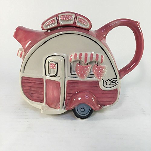 Blue Sky Clayworks Ceramic Figural Teapot Dining Car Pink