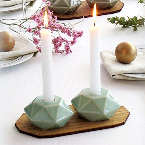 Passover Gift, Bat Mitzvah Gift - Handmade Shabbat Candlesticks, Modern Judaica Hexagon Candle Holders, Aqua Ceramic (Israeli Ceramic)