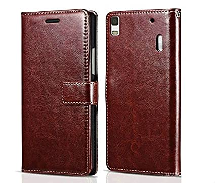 Js Cool® Lenovo K3 Note/Lenovo A7000 Leather Wallet Flip Book Cover Case  with Card Slots and Magnet Closure (Lenovo K3 Note, Brown)