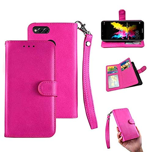 Huawei Mate Se Case, Honor 7X Wallet Case, [Wallet Stand] Flip Magnetic 6 Cards PU Leather Cover with Wrist Strap and Oil Edge Making Case for Huawei Mate Se/Honor 7X (Rose Red)
