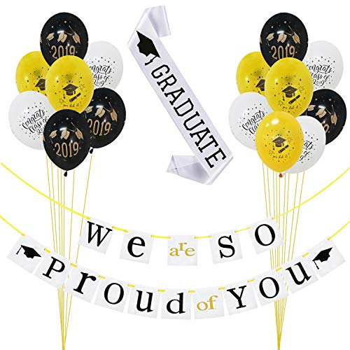 2019 Graduation Party Decorations Kit - Pack of 17 | We Are So Proud of You Banner Decoration Set - No DIY Required| Black and Gold Graduation Latex Balloons| White Graduate Sash| Great for Grad/ Graduation Party Supplies 2019 (Best College Graduation Party Ideas)