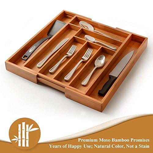 Utensil Drawer Organizer, Bamboo Silverware Organizer Expandable Kitchen Drawer Organizer Cutlery Tray. By: Bambüsi by Bambüsi (Image #4)