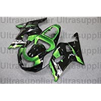 Green w Black Complete Injection Fairing for 2001-2003 Suzuki GSXR 600 750