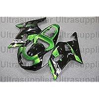 Green w Black Complete Injection Fairing for 2001-2003 Suzuki GSXR 600 750