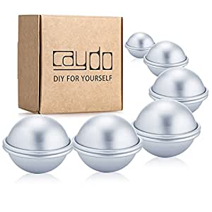 Caydo 6 Set 3 Sizes 4cm/ 5cm/ 6cm DIY Metal Bath Bomb Mold 12 Pieces for Crafting Your Own Fizzles